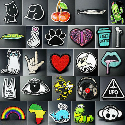 Embroidered Iron On / Sew On Patches Badges Transfers Fancy Dress Bag Hat Jeans