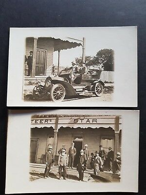 2x Australia Real Photo Postcard Outback New Automobile Car Front of Hotel Pub