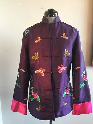 Vintage Butterflies Floral Embroidered Asian Chinese Jacket Size 6-8