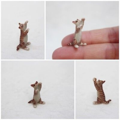Figurine Animal Ceramic Cat Stand Up Looking Miniature Statue Collectible Gift