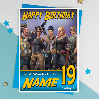 FORTNITE Personalised Birthday Card!! ANY NAME / AGE / RELATION GREAT !!!!! (3)