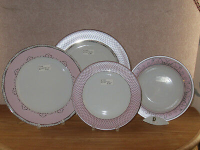 PHILIPPE DESHOULIERES *NEW* MARGOT ROSE PINK 7370 Set 4 Assiettes 4 Plates