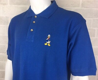 Vintage Disney Store Donald Duck Embroidered Men's Blue Polo Shirt Size Large