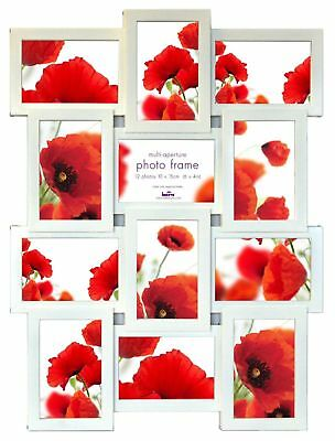 White Multi Aperture Photo Picture Frame - Holds 12 X 6''X4'' Photos