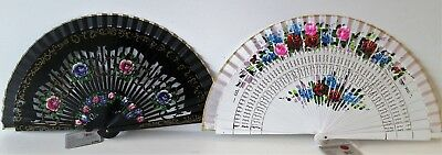 Ladies Bamboo Folding Hand Held Fan Paint Flowers Fancy Party Wedding UK Seller
