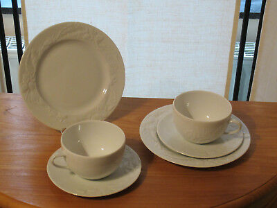 PHILIPPE DESHOULIERES *NEW* PROMENADE Set 2 assiettes + 2 tasses Plates + cups