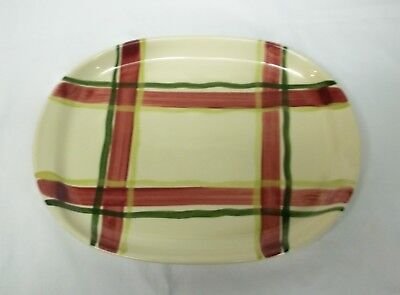 """HTF Purinton Pottery USA Normandy Plaid 12"""" Large Oval Platter"""