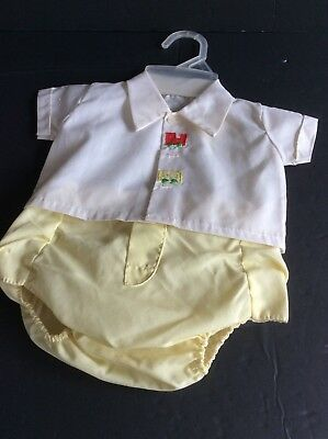 Vintage Baby Boys 2 Pc Plastic Lined Diaper Set Embroidered Train Applique Nowt