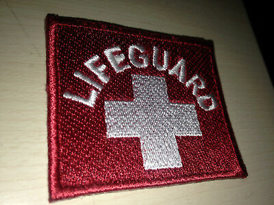 vintage LIFE GUARD LIFESAVING OCEAN BEACH CALIFORNIA RESCUE HAT JACKET PATCH red