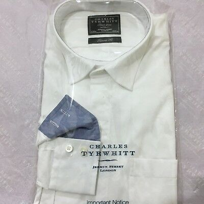 "Mens White Shirt CHARLES TYRWHITT 17"" 43cm BLACK LABEL Tailored Fit Evening Wear"