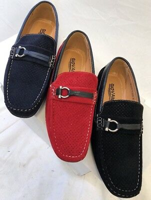 Men Giovanni Dress Shoe Loafer Casual Style Slip-On Suede Navy Red Black M52-38