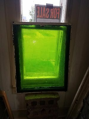 A Gorgeous Green Stained Glass Window. Striations All Over. Unique & Very Old