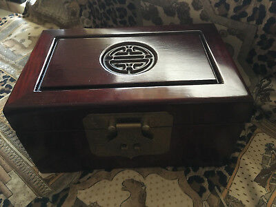 Vintage Rosewood Jewelry Box Asian