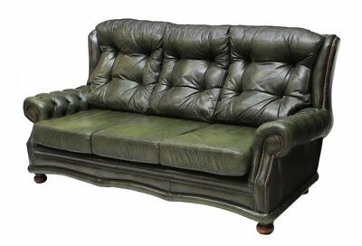 Chesterfield Tufted Green Leather Wing Sofa, Vintage