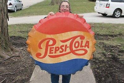 "Large Vintage 1960's Pepsi Cola Soda Pop Bottle Cap 39"" Embossed Metal Sign"