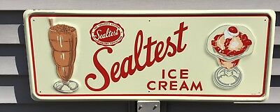Vintage Graphic Embossed Sealtest Ice Cream Sign 3-57 Dairy Country Store