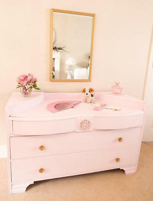Painted chest of drawers Mid century Dressing Table & Mirror Pink Furniture