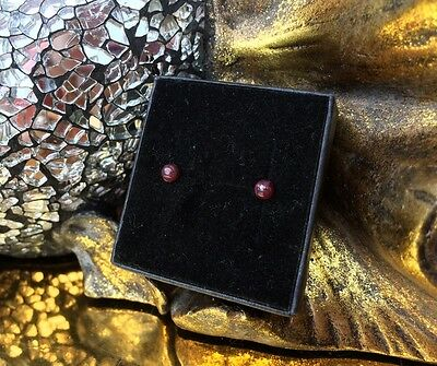 Lovely natural Ruby 5mm cabochon untreated sterling silver stud earrings 🌹
