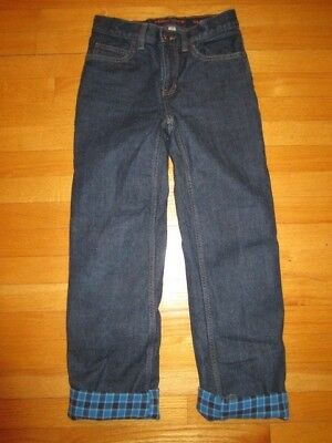 LANDS END Kids Classic Straight Iron Knee Flannel Lined Denim JEANS Boy Girl 14S