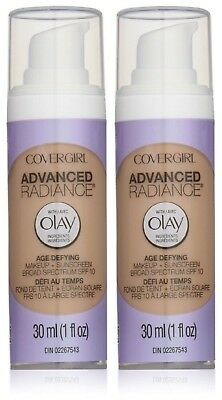 2 x COVERGIRL AGE DEFYING LIQUID FOUNDATION MAKEUP 30ml OLAY - 125 BUFF BEIGE