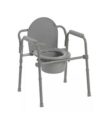 Drive Medical Steel Folding Bedside Commode Grey Powder Coated 350lb New
