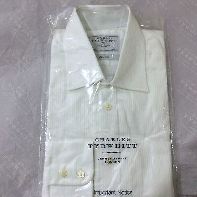 "Mens White Shirt CHARLES TYRWHITT 15.5"" 39cm Slim Button Cuff Textured Striped"