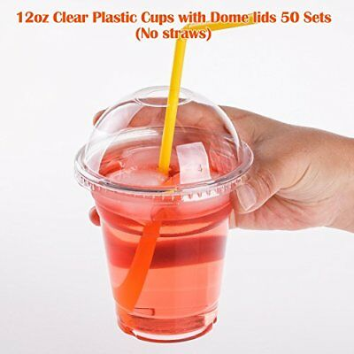 Clear Plastic Cups 12 oz with Dome Lids for Iced Coffee Bubble Boba Tea 50 Sets