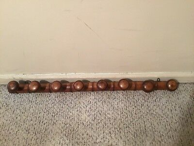 "Antique French Walnut Kitchen Copper Pot Rack Hat Coat Rack 41"" Long x 2.5"" Wide"