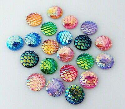 20pc 12mm Scale Cabochons - Mixed Colours Mermaid Dragon Earrings Craft  FBC10