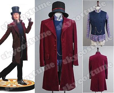 Willy Wonka Charlie and the Chocolate Factory Johnny Depp Cosplay Costume Suit