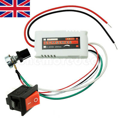 DC 12V PWM Motor Speed Control Controllor For Fan Pump Oven Blower +Switch UK