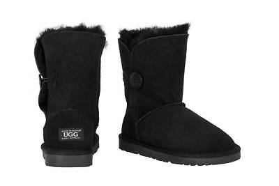 OZWEAR Connection Classic Button Ugg Boots (Black, Size 6M / 7W US)