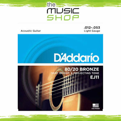 D'Addario 80/20 Bronze Acoustic Guitar Strings - 12-53 Light - EJ11 - Daddario