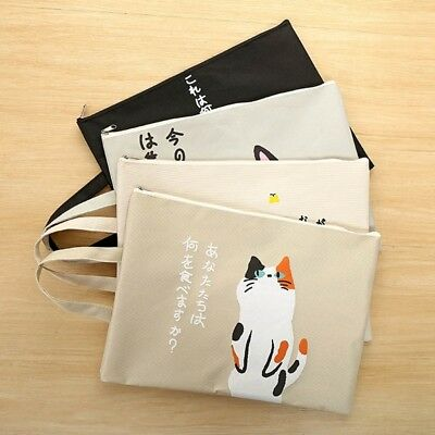 Vintage 1 X Cute Cat Animal A4 Document File Bag Folder Zipped Stationery Bags