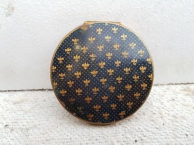 Vintage Brass Compact Box Stratton Leafy Dotted-Blue Golden Collectable, England