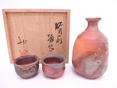 3447862: Japanese Pottery Bizen Ware Sake Cup & Bottle Set By Shinsen Mori