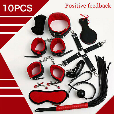 10pcs SM Bondage Restraints Set Kit Ball Gag Cuff Whip Collar Fetish toy UK
