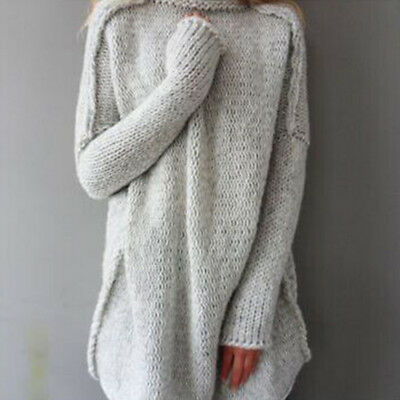 Womens Oversized Jumper Ladies Long Sleeve Chunky Knitted Long Sweater Tops EI