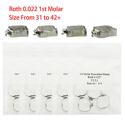 Dental Orthodontic Prewelded Bands Roth 022 1st Molar Buccal Tube Size 31 to 42+
