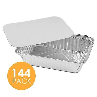 144 x Disposable Aluminium Foil Pan Takeaway Food Containers with Lids 20x11x5cm
