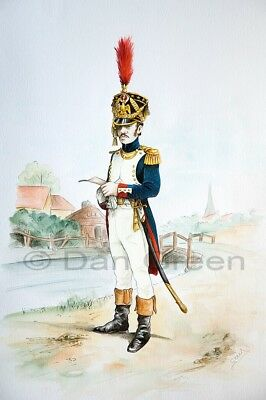 ORIGINAL MILITARY WATERCOLOUR PAINTING - Officer French Garde Imperiale 1810