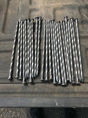 Lot Of 25 10 Inch Spiraled Steel Spikes Galvanized