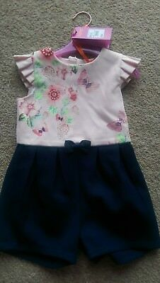 7e356c404824 TED BAKER GIRLS Pink And Navy Floral Print Playsuit Age 2-3 Years ...