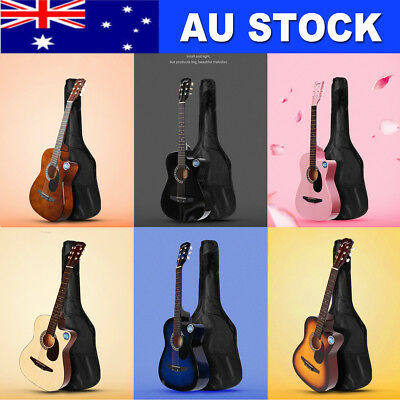 38'' Inch Wooden Guitar Set Folk Acoustic Classical Cutaway Steel String 2018 NE