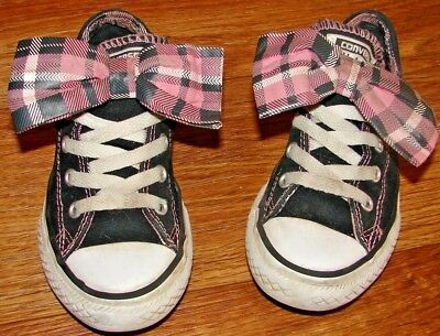 b6433a6dd6c3 Converse All star Girls Size 13 Adorable Black Sneakers With Pink Plaid Bows