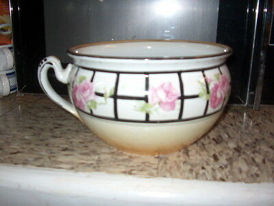 "Chamber Pot/slop Jar. Large W/handle ""pink Roses On Side 9 1/8 Inches Across Top"