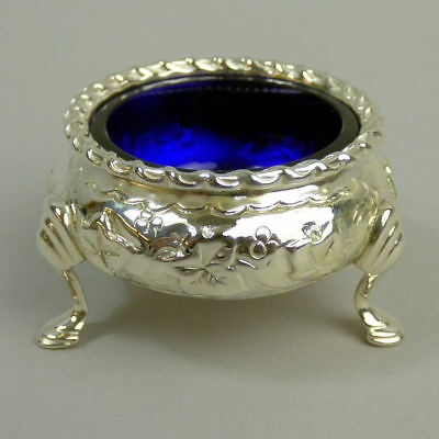 Victorian Antique Silver Salt With Blue Glass Liner London 1883