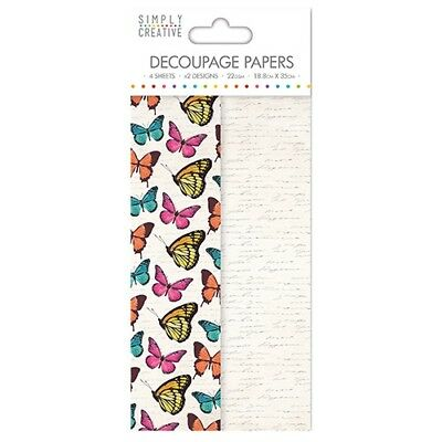 Simply Creative Vibrant Butterflies Decoupage, Decopatch Papers SCDEC064