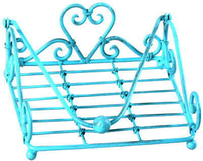 French Country Vintage Kitchen TEAL HEART BBQ Napkin Serviette Holder Wrought...