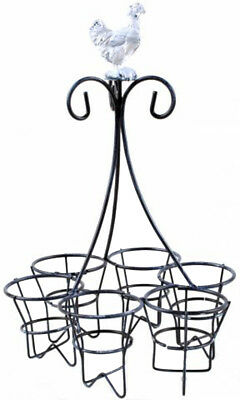 French Country Vintage Inspired Wrought Iron Chicken 6 Egg Holder New